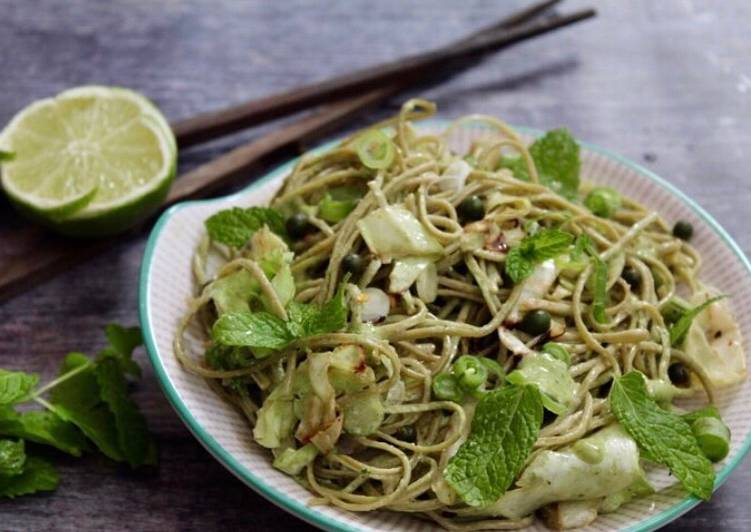 Green soba noodle salad with Asian pesto