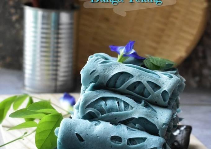 Cara Gampang Membuat Roti Jala Bunga Telang, Sempurna