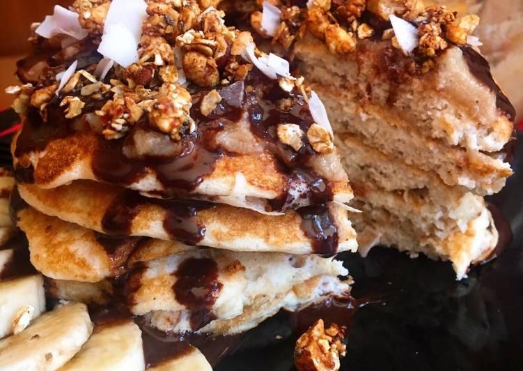 Tortitas con Dulce de leche y sirope de chocolate saludables