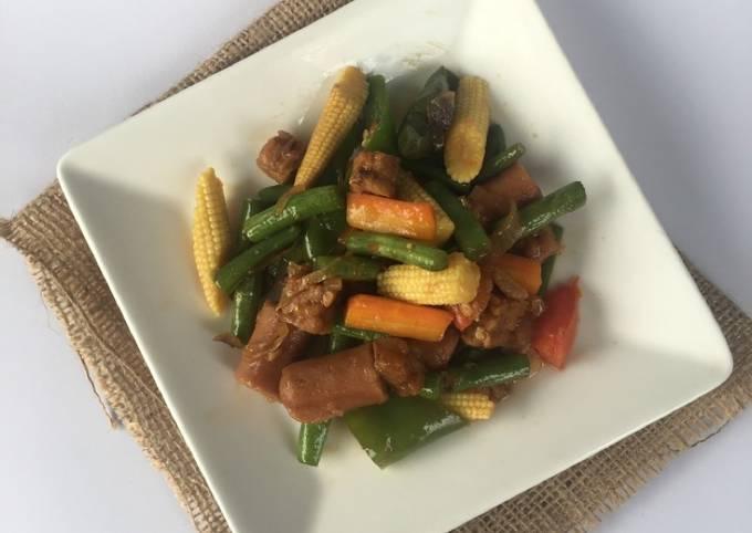 Tumis sosis dan sayuran ala fe