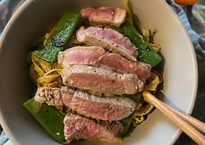 74• 🍜 Nouille de Riz à l'agneau épinard et haricot plat 🥬