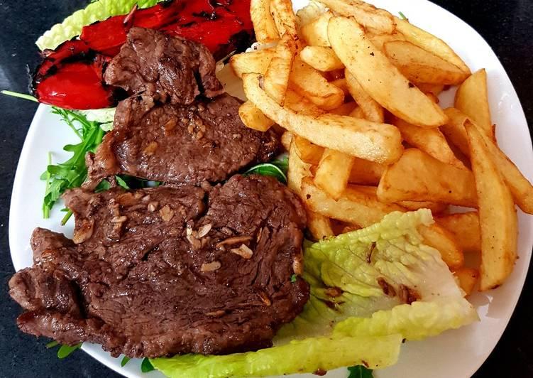 My Rib eye Steak Roasted Pepper & Chips
