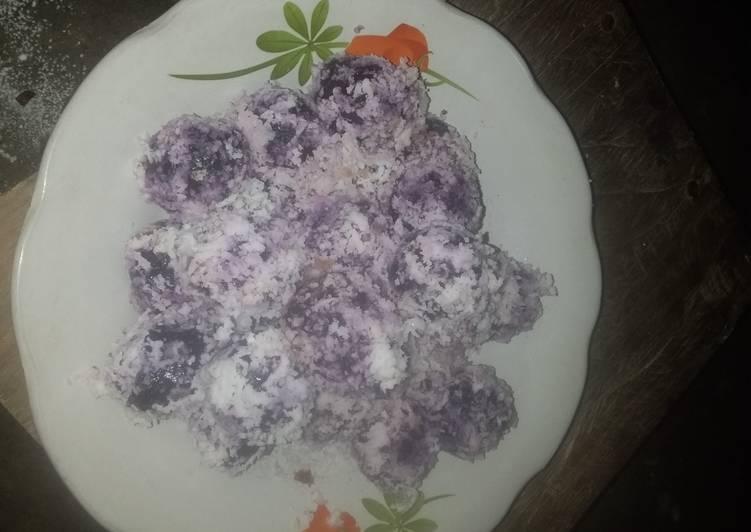 Klepon ubi ungu ala anak SD