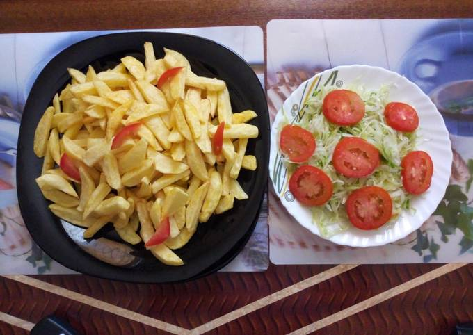 Fries with steamed cabbage #seasonalingredientscontest#