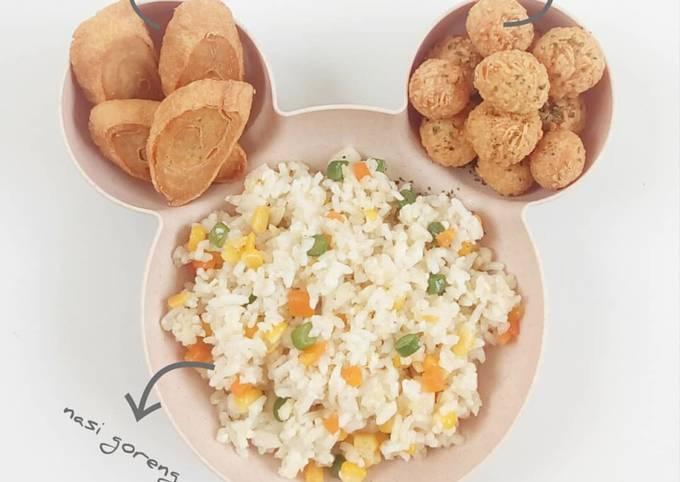 Nasi Goreng + Rolade Ayam + Bola² Ayam Keju - MPASI