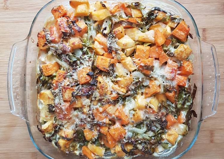 Recipe of Homemade Sweet potato, Swede and spring greens gratin