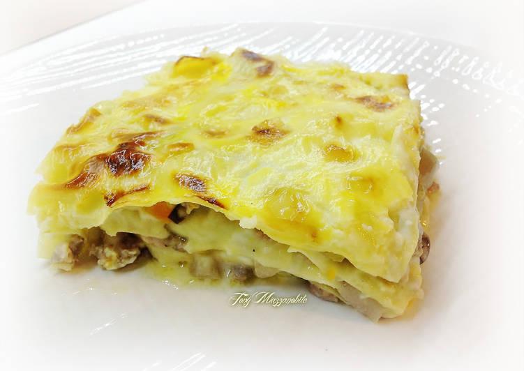 Recipe: Tasty Lasagne con salsa di fontina, ragù bianco di tastasale e radicchio tardivo trevigiano