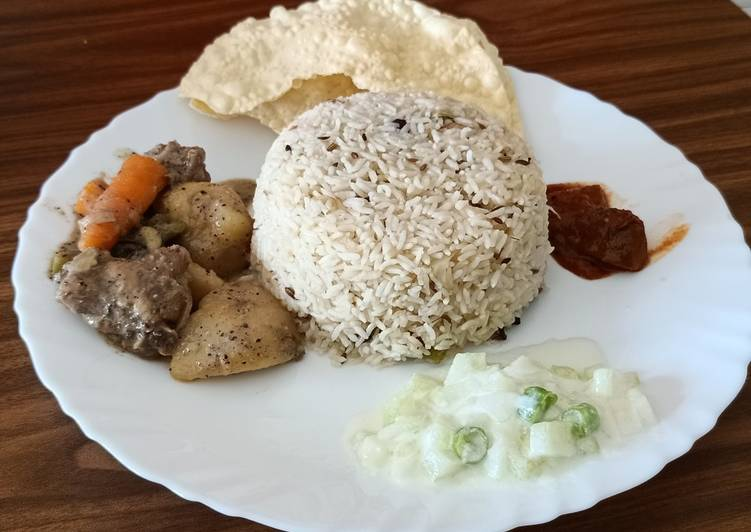 Ghee rice and chicken stew