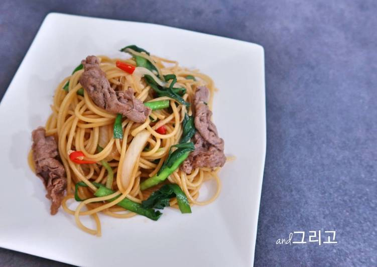 Beef Fried Spaghetti 불고기 볶음 스파게티, Foods That Benefit Your Heart