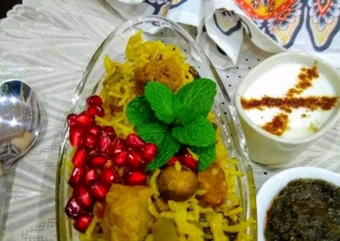 Mushrooms and Soya Biryani with veggies