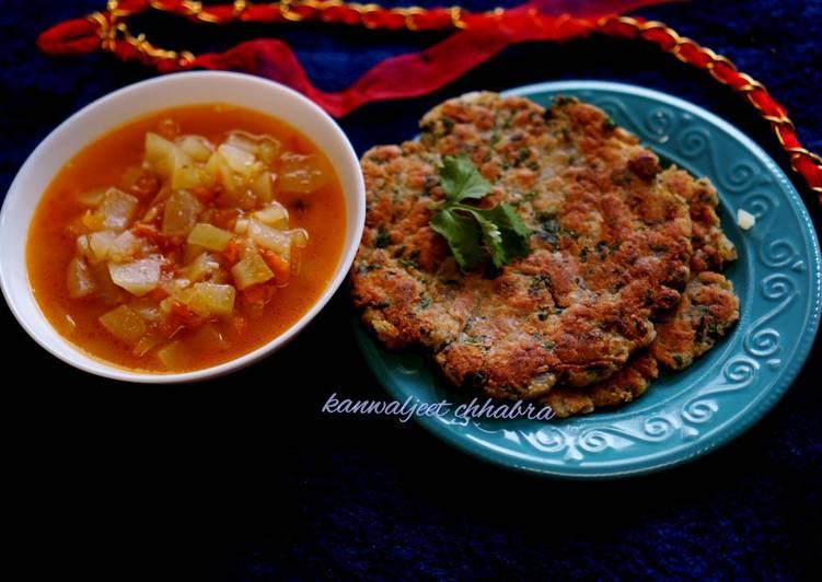 Recipe of Quick Chestnut flour(sighade ka atta) paratha with bottle gord sabji