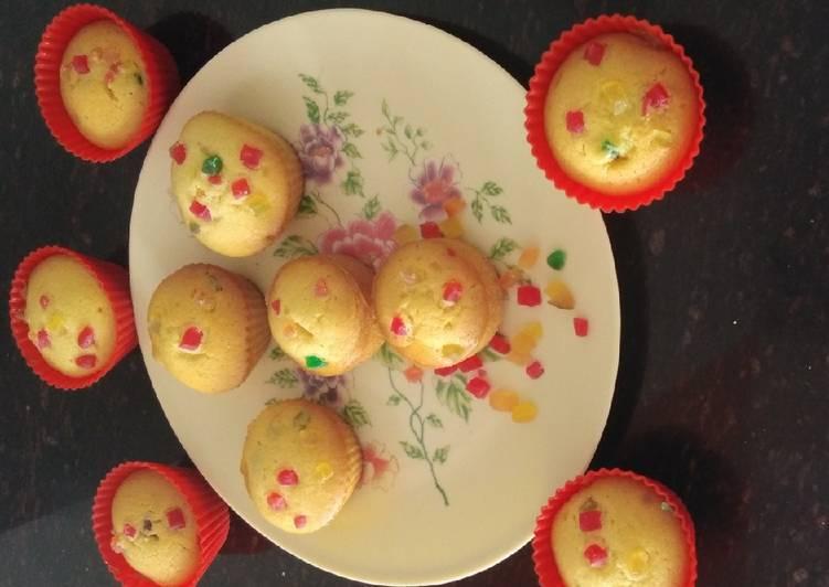 Eggless tutti frutti cup cake