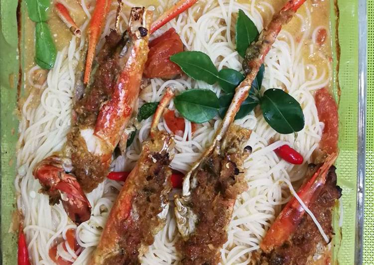Baked River Prawn And Spaghetti With Tom Yum And Coconut Milk