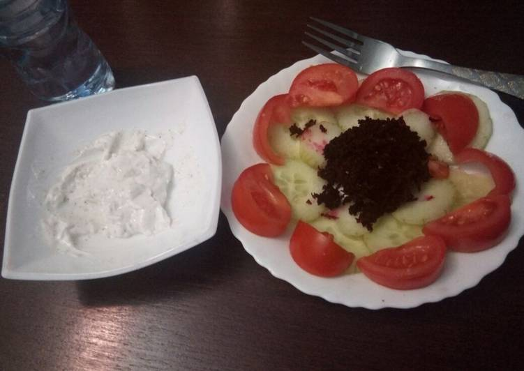 Salad Varier with cottage cheese dip