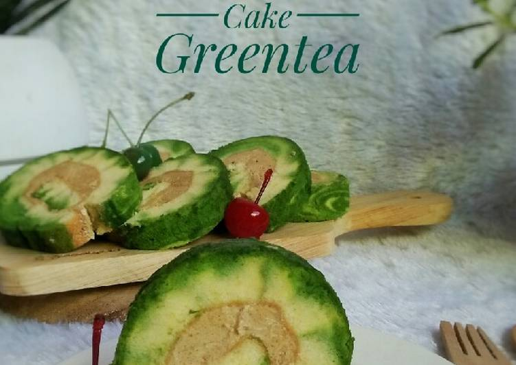 Swiss Roll Cake Greentea With Mocca krim