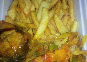Easiest Way to Make Appetizing Chips and vegetable sauce with fish