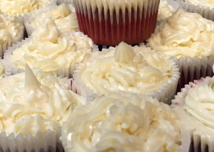Magnolia Bakery Inspired Red Velvet Cupcakes with Cream Cheese Frosting