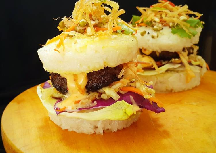 Japanise Sushi Burger with Mutton Kebab and Kimchi Salad