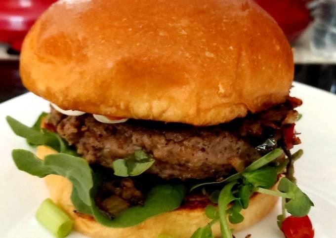 My Chilli, Salt & Peppered Beef Burger in a Bun. 😉