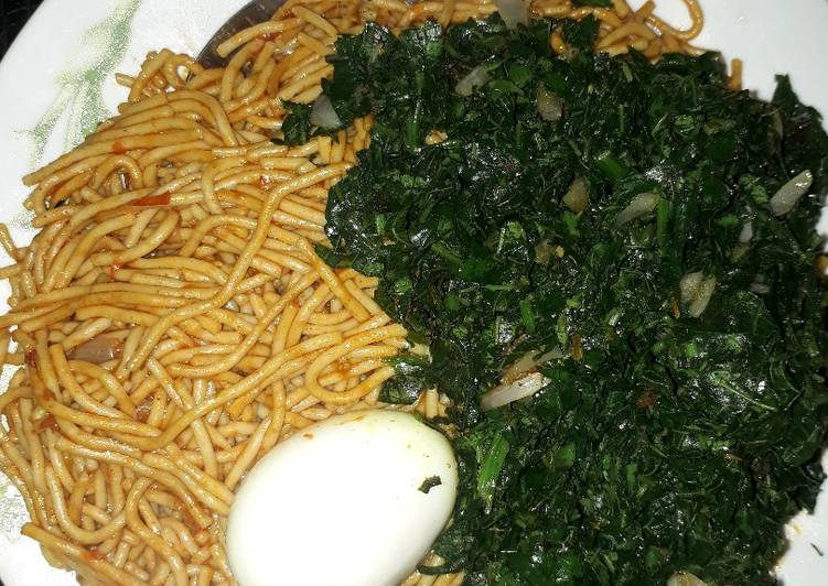 Recipe: Delicious Spaghetti with egg and vegetable(ugu)
