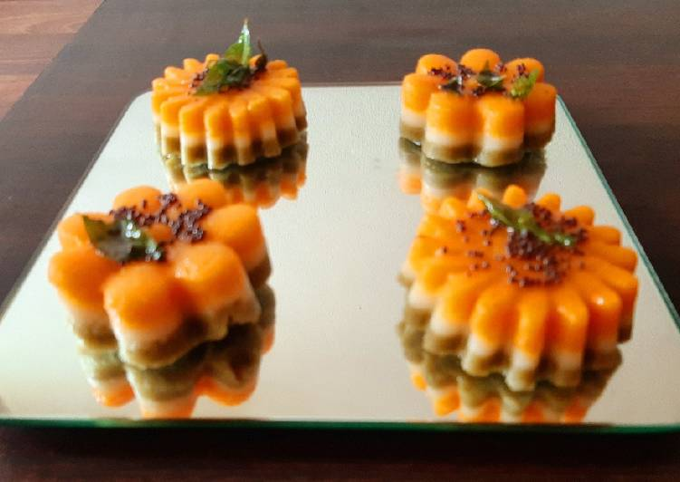 Tricolor cup cake dhokla