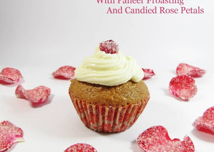 Easiest Way to Make Speedy Millet Rose Cup Cake with Paneer Frosting and Candied Rose Petals