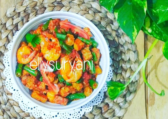 sambal buncis-tempe-udang praktis |menu sehat gak nyampe 20 ribu - resepenakbgt.com