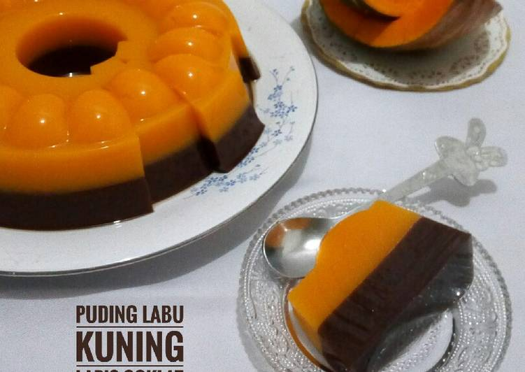 Puding Labu Kuning Lapis Coklat