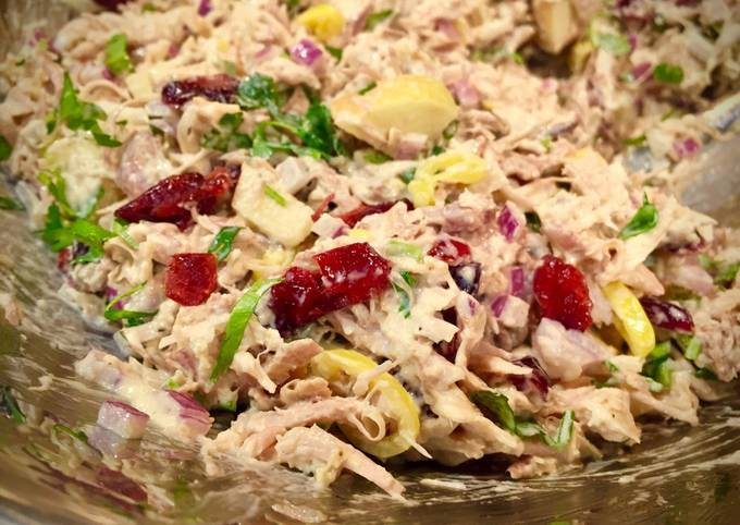Day After Thanksgiving Turkey Salad with Apples, Dried Cranberries & Other Stuff