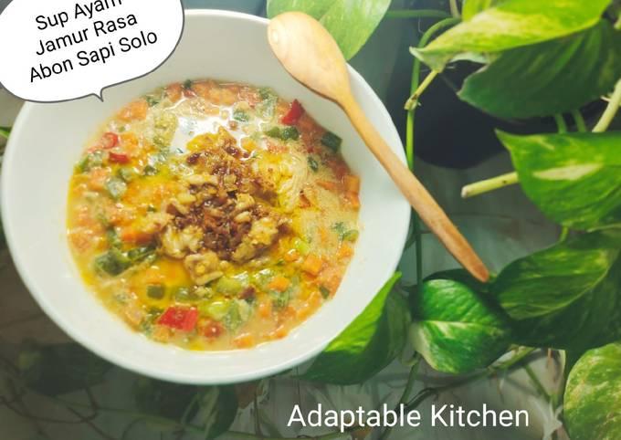 Resep Sup Ayam Jamur Enoki Rasa Abon Sapi Solo yang Enak Banget