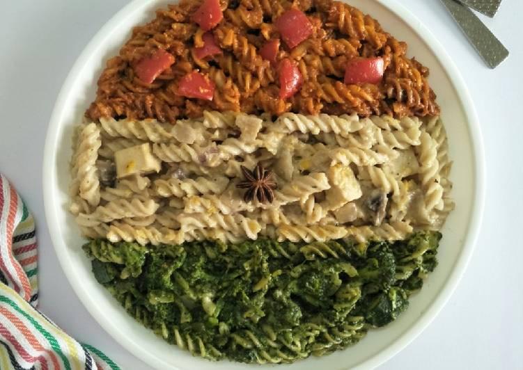 Recipe of Super Quick Homemade Healthy Tiranga Pasta (Tri Colour Pasta)