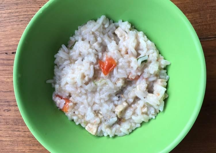 Resep Mpasi 1 Tahun Keatas Nasi Tim Ikan Kembung Tempe Tomat Oleh Adna Cook Cookpad