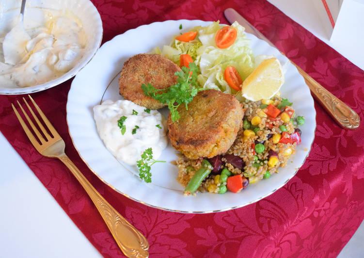 Sweet potato and mushroom fishcake, served with quinoa, mixed veggies and home made tartar sauce