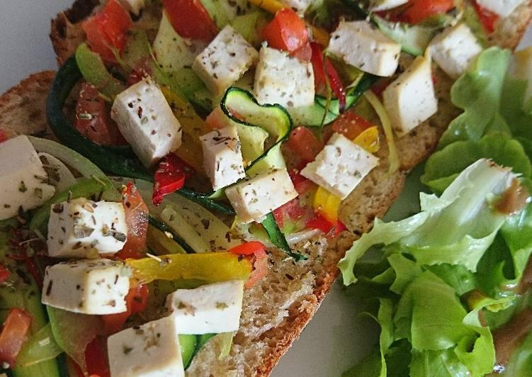 Tartine tofu au légumes du soleil