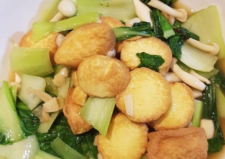 Pakcoy tumis tofu goreng