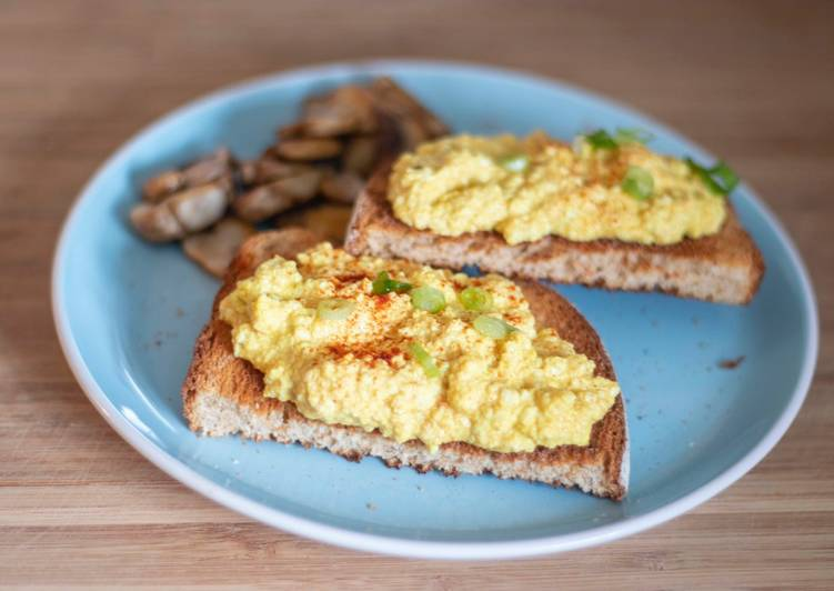 Foods That Can Make You Happy Tofu scrambled on toast with sautéed mushrooms