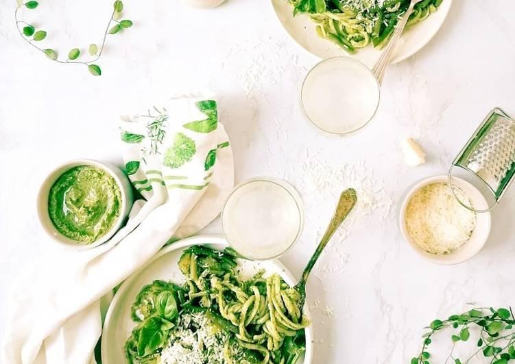 Trenette oder Spagetti mit Pesto
