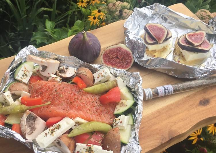Lachs-Gemüse-Päckchen & Feta-Feigen-Honig-Happen