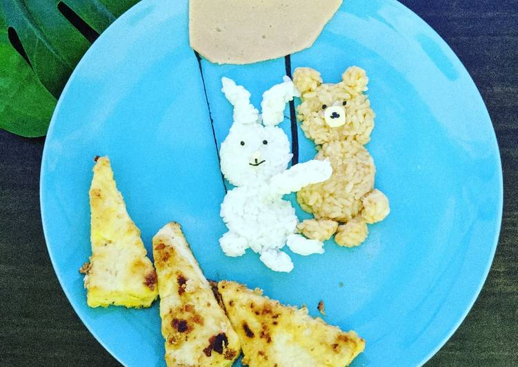 Fried Cereal Tofu Recipe [Bunny holds on to brown bear]
