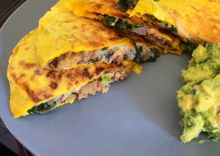Living Greener for Better Health By Eating Superfoods, Cheesy Beef Quesadilla + Guacamole