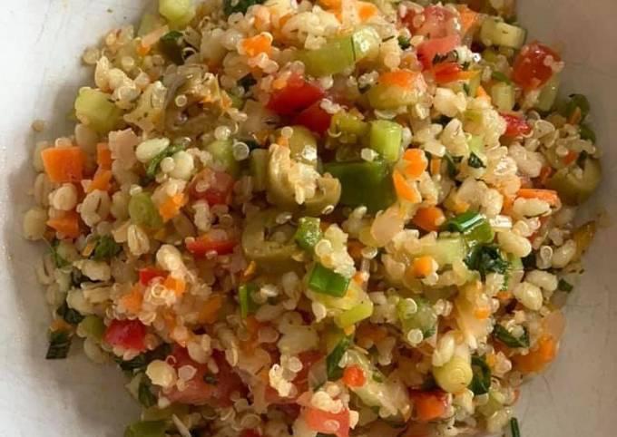 Quinoa Barley Thyme Salad   It is gluten-free & a source of healthy fat fiber