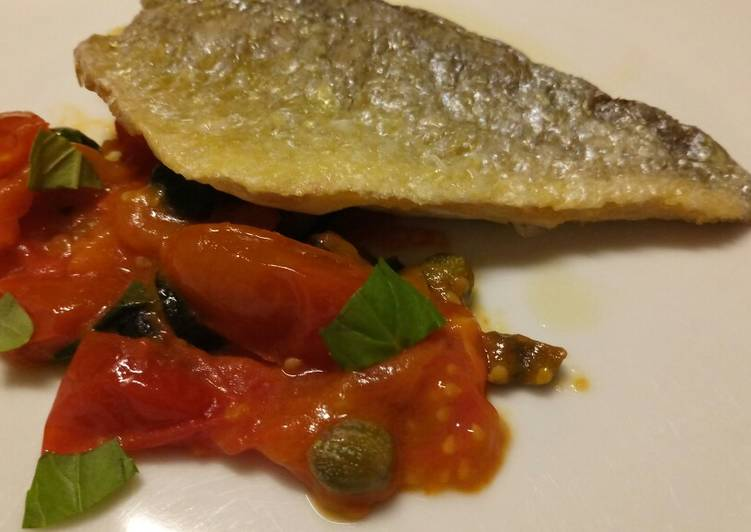 Pan fried sea bass with fresh tomatoes