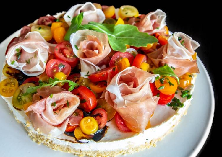 Recette Parfait Cheesecake aux tomates et roses de jambon cru