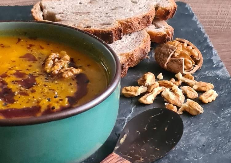 Comment faire Faire Savoureux Soupe onctueuse de potimarron et lentilles corail