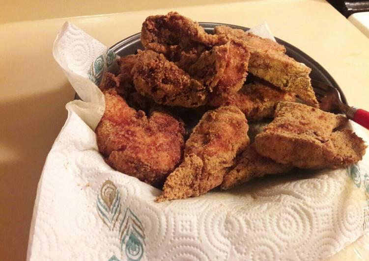 Home fried catfish steaks (bone in)