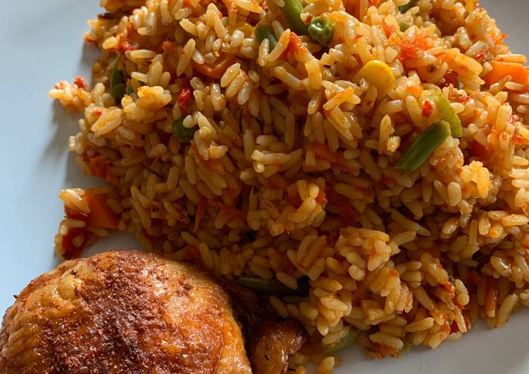 Easiest Way to Cook Tasty Nigerian Jollof Rice and Grilled Chicken