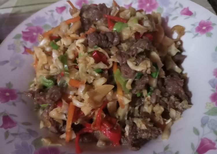 Oseng kol + daging sapi