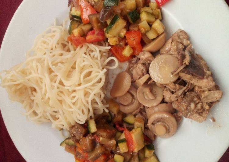 Chicken with mushroom, Spaghetti and Ratatouille