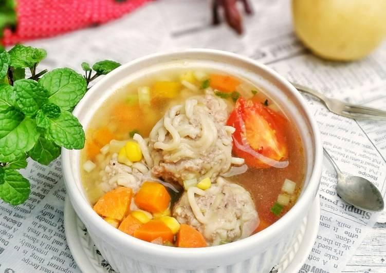 Resep Sup Bola bola Mie Daging dan Sayur Terenak