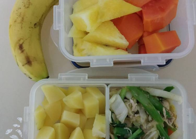 Menu diet kentang dan sayur tumis